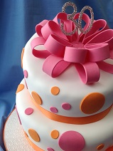 Spotty cake with ribbon